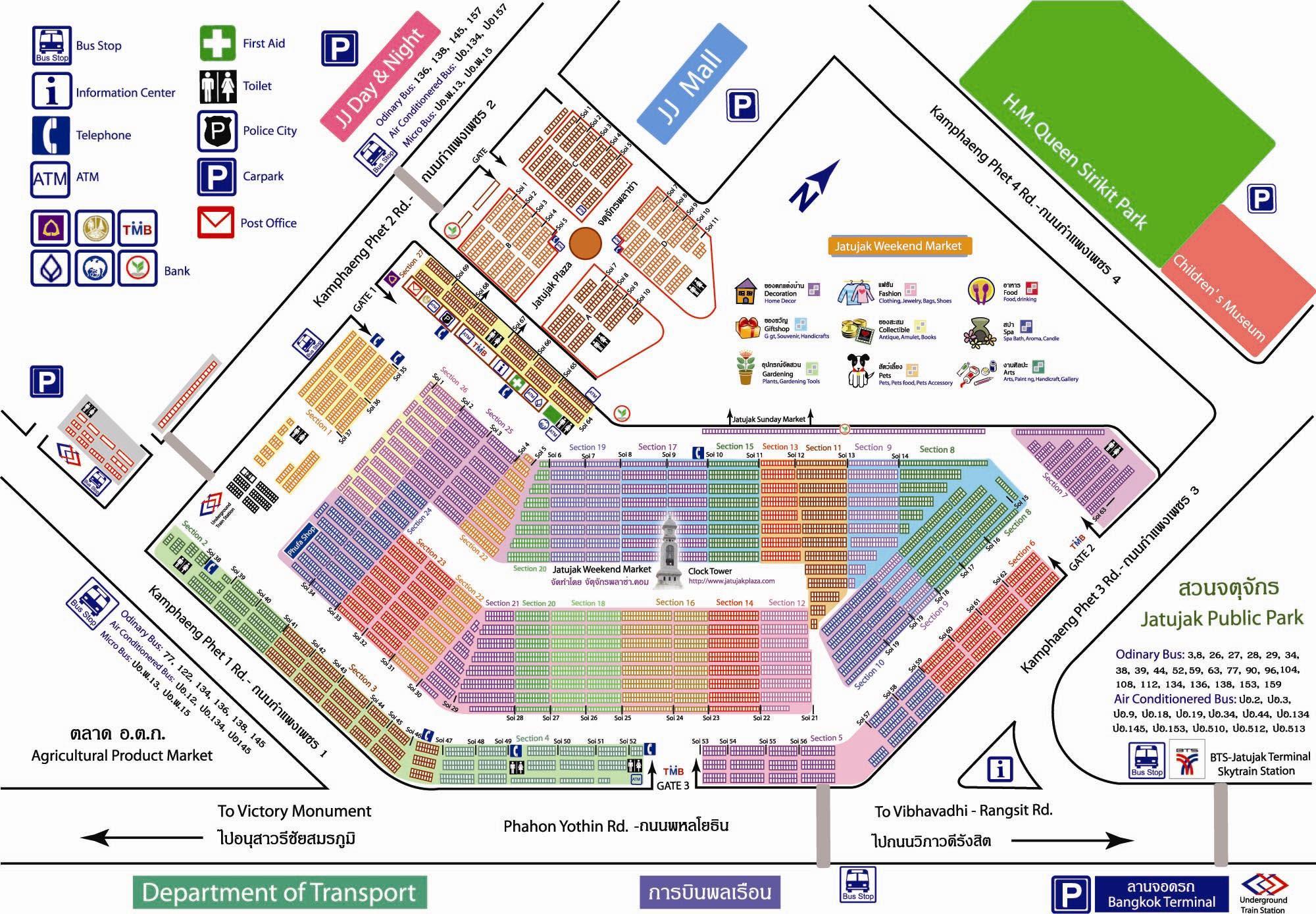 Bangkok Chatuchak Weekend Market Map