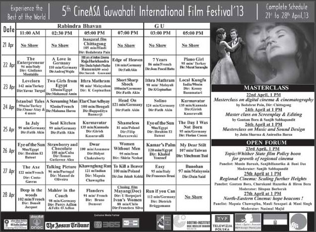 5th CineASA Guwahati International Film Festival, 2013